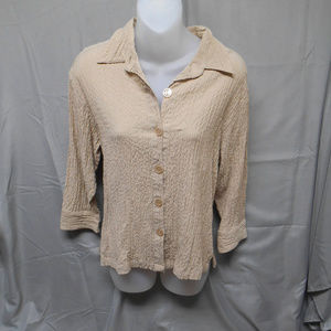 White Stag stretch button brown top S